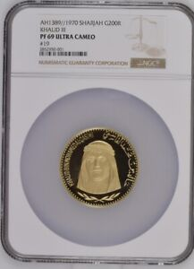 Click now to see the BUY IT NOW Price! SHARJAH 1970  AH1389  KHALID III 200 RIYAL GOLD COIN NGC 69