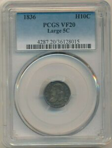 1836 CAPPED BUST HALF DIME LARGE 5C VARIETY PCGS GRADED VF20 SHIPS FREE