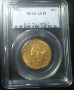 1890 LIBERTY HEAD $10 GOLD EAGLE >PCGS AU55<  >SUPER FAST SHIPPING