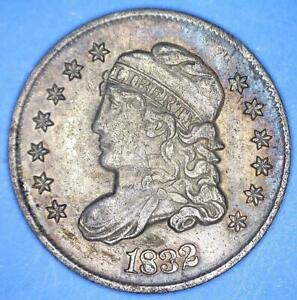 CENSUS LEVEL NICE TONED 1832 LM 14 VALENTINE 7 CAPPED BUST HALF DIME    39351088