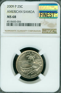 Click now to see the BUY IT NOW Price! 2009 P AMERICAN SAMOA  QUARTER NGC MS68 PQ MAC FINEST & SPOTLESS POP 5 ..