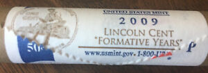 US MINT $0.50 ROLL OF 2009P LINCOLN CENT FORMATIVE YEARS ORIGINAL MINT WRAPPING