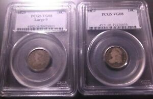 1820 LARGE 0 & 1832 CAPPED BUST DIMES >PCGS VG08< SUPER FAST SHIPPING