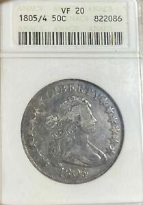 1805/4 DRAPED BUST HALF DOLLAR >ANACS VF20<  >SUPER FAST SHIPPING