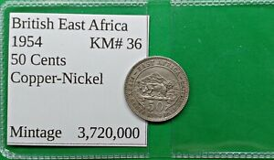 WORLD FOREIGN OLD BRITISH EAST AFRICA 50 CENT COIN 1954  KM 36