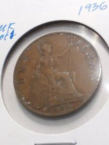 UK   GREAT BRITAIN 1936 ONE PENNY  GEORGE V  IND:IMP:  LOT 1  KM838