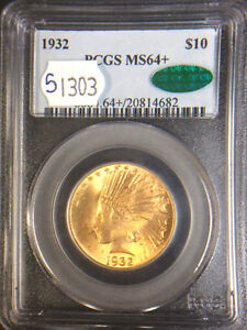 1932 $10 INDIAN HEAD GOLD EAGLE PCGS GRADED MS64  WITH CAC STICKER