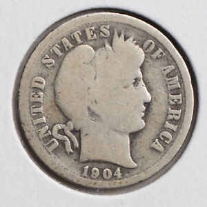 1904 P 10C BARBER DIME G  SET BREAK  90  SILVER   ACTUAL COIN PICTURED