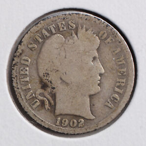 1902 P 10C BARBER DIME  G   SET BREAK  90  SILVER   ACTUAL COIN PICTURED