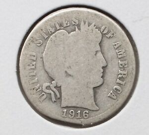 1916 P 10C BARBER DIME G  90  SILVER   ACTUAL COIN PICTURED