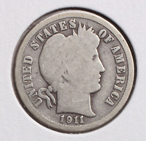 1911 P 10C BARBER DIME  G  90  SILVER   ACTUAL COIN PICTURED