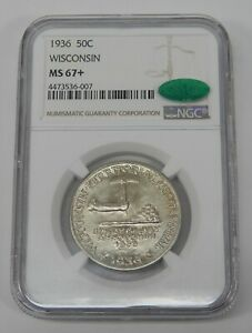 1936  WISCONSIN HALF DOLLAR COMMEMORATIVE NGC MS67
