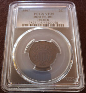 1867 US 2 CENT 2C PIECE FS 101 DDO ERROR COIN CERTIFIED GRADED PCGS VF35 WOW