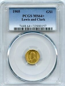 1905 G$1 LEWIS AND CLARK GOLD COMMEMORATIVE DOLLAR PCGS MS 64