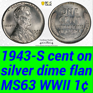 Click now to see the BUY IT NOW Price! 1943 S PCGS MS63 CENT ON SILVER DIME  $14 100 FOR AU53  LINCOLN WHEAT STEEL 1C