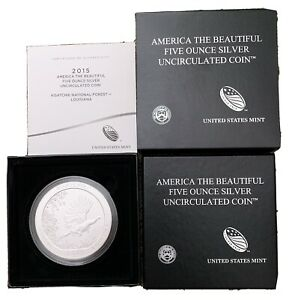 2015 P 5OZ ATB KISATCHIE NATIONAL FOREST SILVER BURNISHED COIN AMERICA BEAUTIFUL