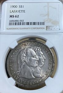 1900 NGC MS62 LAFAYETTE DOLLAR SILVER COMMEMORATIVE DOLLAR