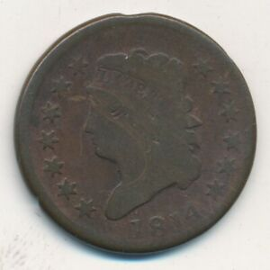 1814 CLASSIC HEAD LARGE CENT PLAIN 4 NICE CIRCULATED LARGE CENT SHIPS FREE