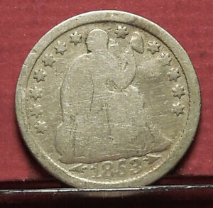 A 1853 LIBERTY SEATED HALF DIME OLD U.S. COIN COLLECTION