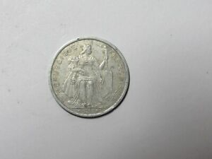 FRENCH POLYNESIA COIN   1999 2 FRANCS   CIRCULATED DISCOLORED RIM DING