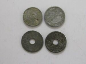 LOT OF 4 OLD JAPAN WORLD WAR II ERA COINS   CIRCULATED DATELESS