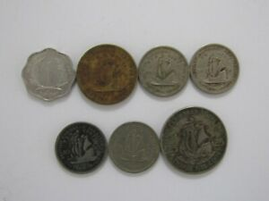 LOT OF 7 DIFFERENT BRITISH AND EAST CARIBBEAN COINS   1955 TO 1993   CIRCULATED