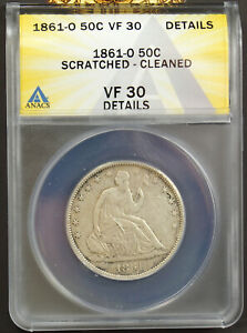 1861 O SEATED LIBERTY HALF DOLLAR ANACS VF30 DETAILS SCRATCHED CLEANED 7135175
