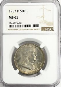 1957 D FRANKLIN HALF DOLLAR SILVER 50C GEM UNC NGC MS65