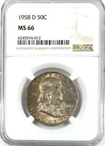 1958 D FRANKLIN HALF DOLLAR SILVER 50C GEM UNC NGC MS66