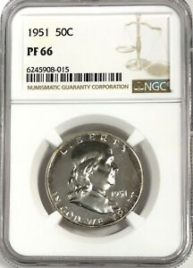 1951 FRANKLIN HALF DOLLAR SILVER 50C GEM PROOF PR 66 NGC PF66