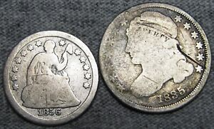 1856 SEATED LIBERTY HALF DIME 1835 CAPPED BUST DIME SILVER NICE DETAILS LOT304