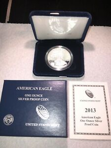 2013 W AMERICAN SILVER EAGLE PROOF COIN WITH OGP AND COA.
