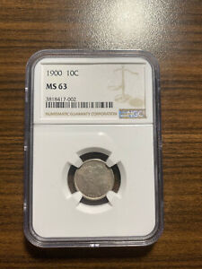 1900 P BARBER SILVER DIME 10C NGC MS 63
