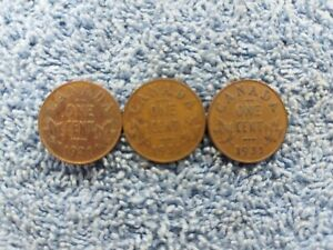 1931 X 3 COINS LOT313 GEORGE V CANADA 1 CENTS