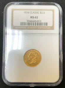 1834 CLASSIC HEAD $2.50 GOLD NGC MS62
