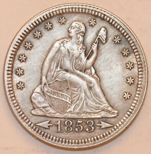 1853 SEATED LIBERTY QUARTER ARROWS & RAYS