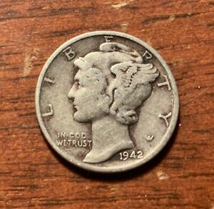 1942 USA 10 CENTS MERCURY DIME   SILVER COIN