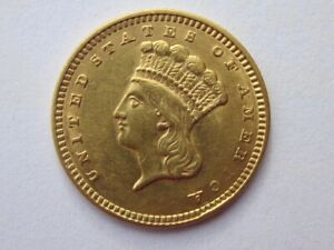 1857 INDIAN HEAD $1 DOLLAR TYPE 3 GOLD  NICE DETAIL HEAVY REVERSE DOUBLING