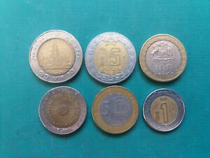 BIMETAL COINS LOT. ARGENTINA DOMINICANA MEXICANA CHILE. TOTAL 6 COINS.