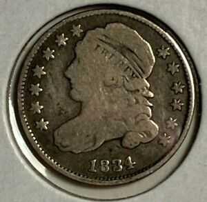 1834 SMALL 4 GOOD VG CAPPED BUST SILVER US DIME 10C