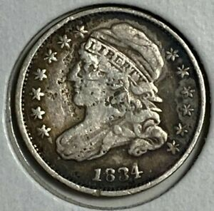 1834 SMALL 4 FINE F CAPPED BUST SILVER US DIME 10C