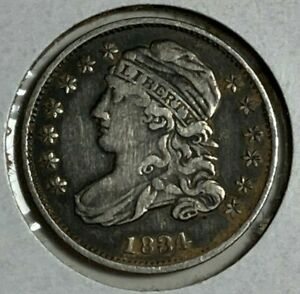 1834 SMALL 4 FINE VF CAPPED BUST SILVER US DIME 10C