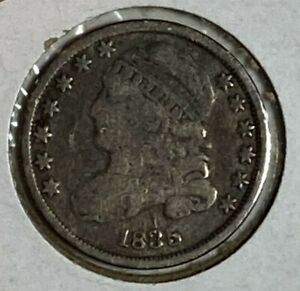 1835 GOOD VG CAPPED BUST SILVER US DIME 10C