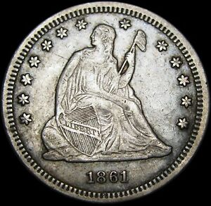 1861 SEATED LIBERTY QUARTER        NICE TYPE COIN       M450