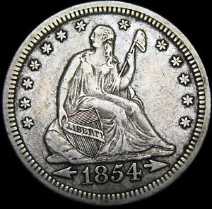 1854 SEATED LIBERTY QUARTER        NICE TYPE COIN       M451