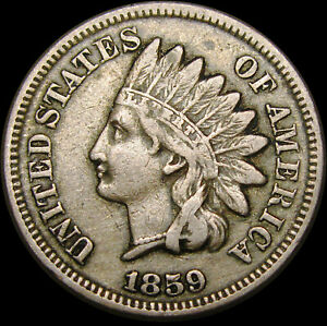 1859 COPPER NICKEL INDIAN CENT PENNY       TYPE COIN       M466
