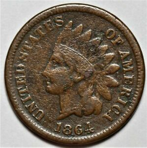 1864 L INDIAN HEAD CENT PENNY  >> US 1C COIN <<  LOT 214