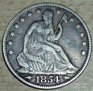 1854 SILVER SEATED LIBERTY HALF DOLLAR WITH ARROWS