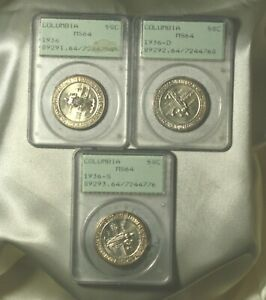 Click now to see the BUY IT NOW Price! 1936 P D S COLUMBIA 50C COMMEMORATIVES SET PCGS MS64