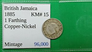 OLD BRITISH JAMACIA FARTHING COIN 1885 KM15 LOW MINTAGE WORLD FOREIGN